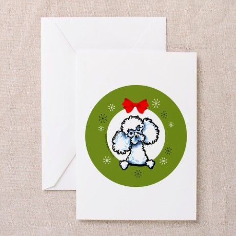 White Toy Poodle Christmas Greeting Cards (Pk of 2 on CafePress.com