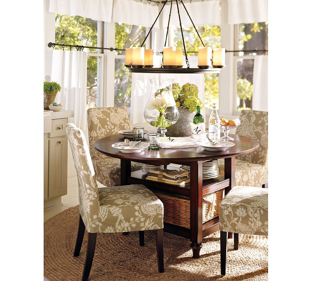 Pottery Barn Cafe Curtains, Parsons Chairs, Round Table. **Wouldnu0027t