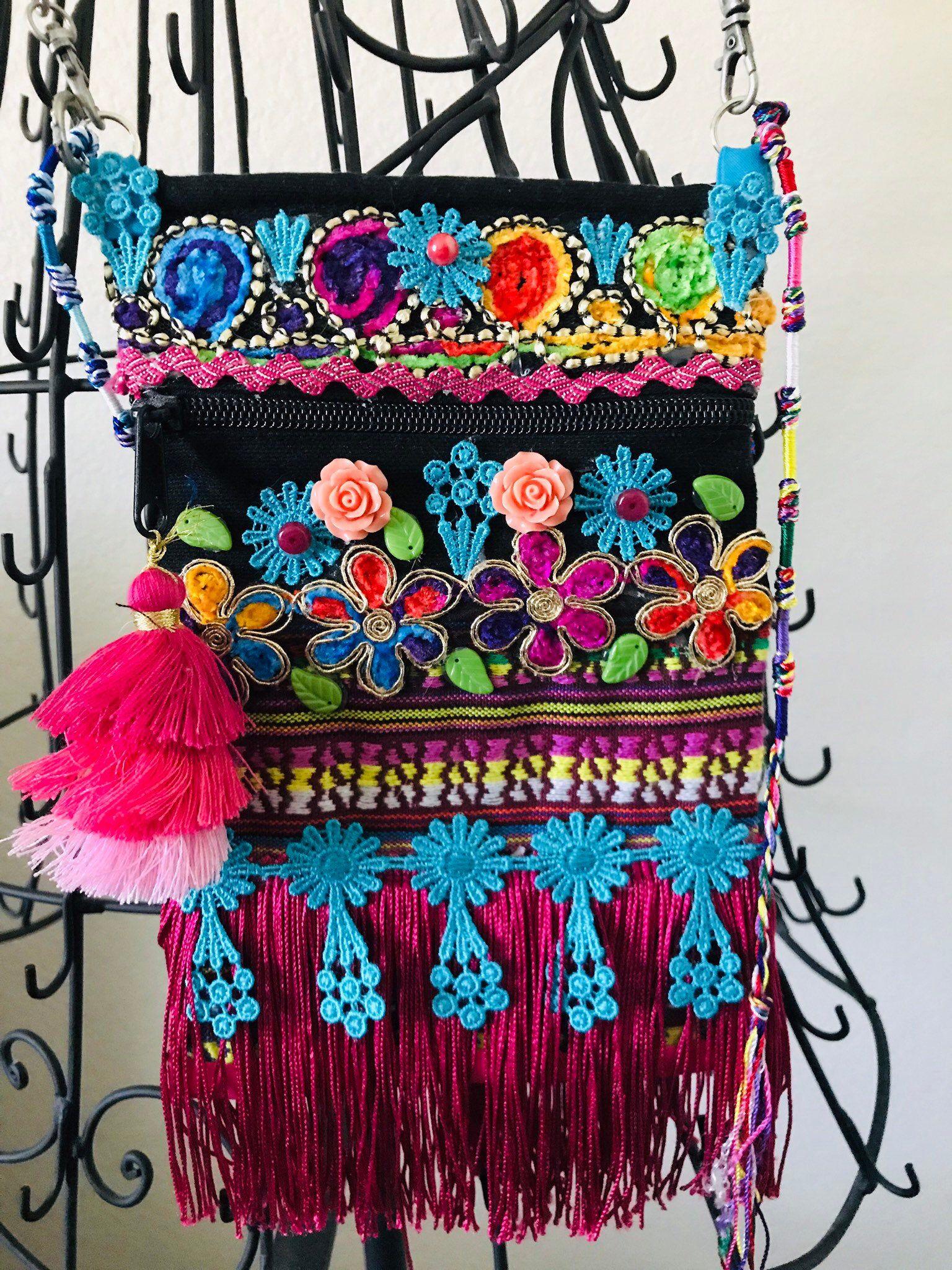 Bright and beautiful multicolored boho festival crossbody
