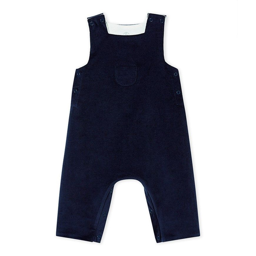 Petit Bateau Baby Boys Blue Striped Seersucker Overall