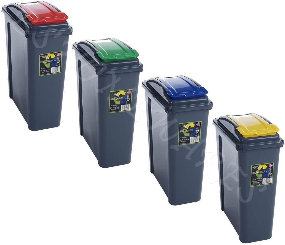 Recycle Bins For Home 25L Plastic Recycling Bin Kitchen Garden Waste Rubbish Recycle 25