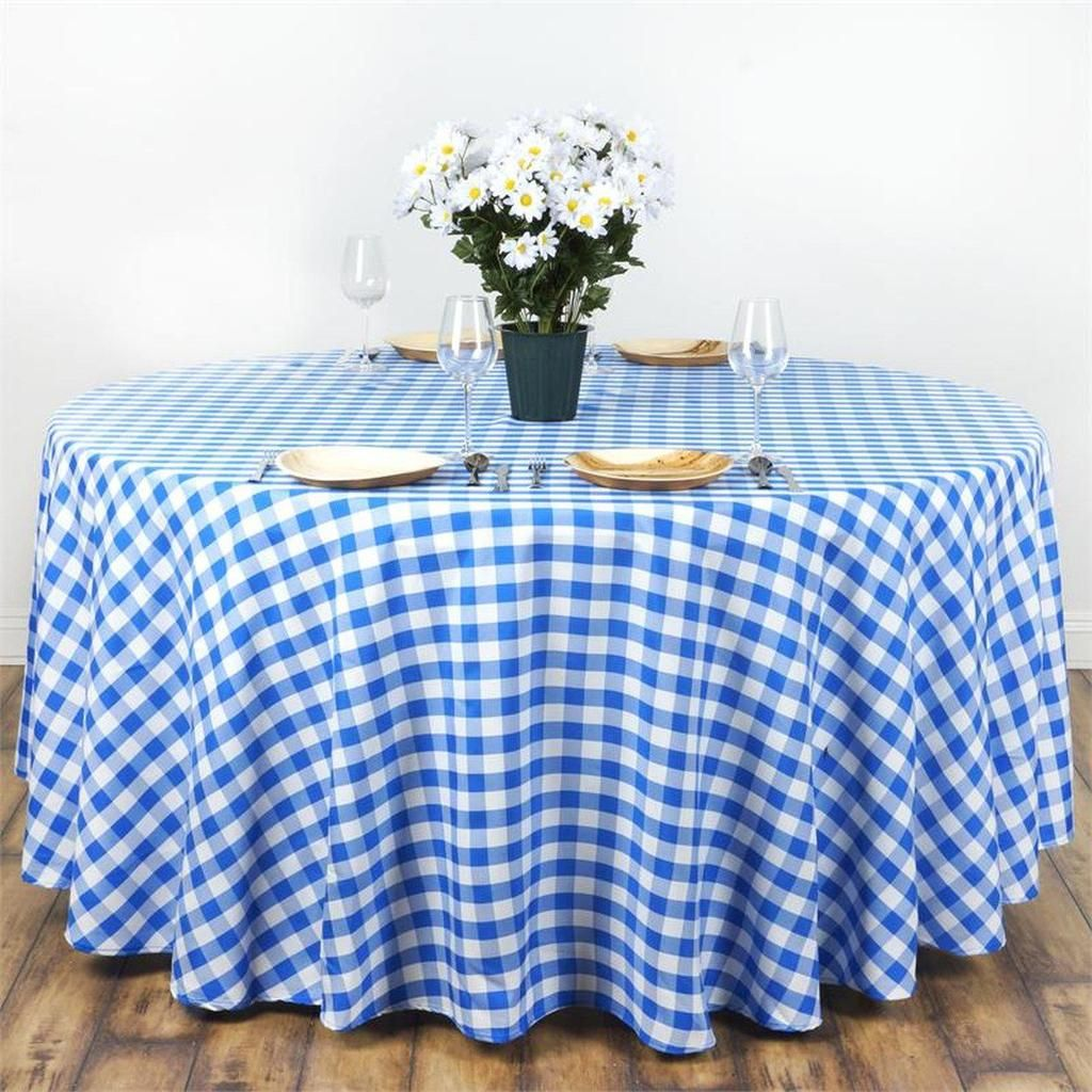 "Blue White Checkered 120"" ROUND Polyester Tablecloth ..."