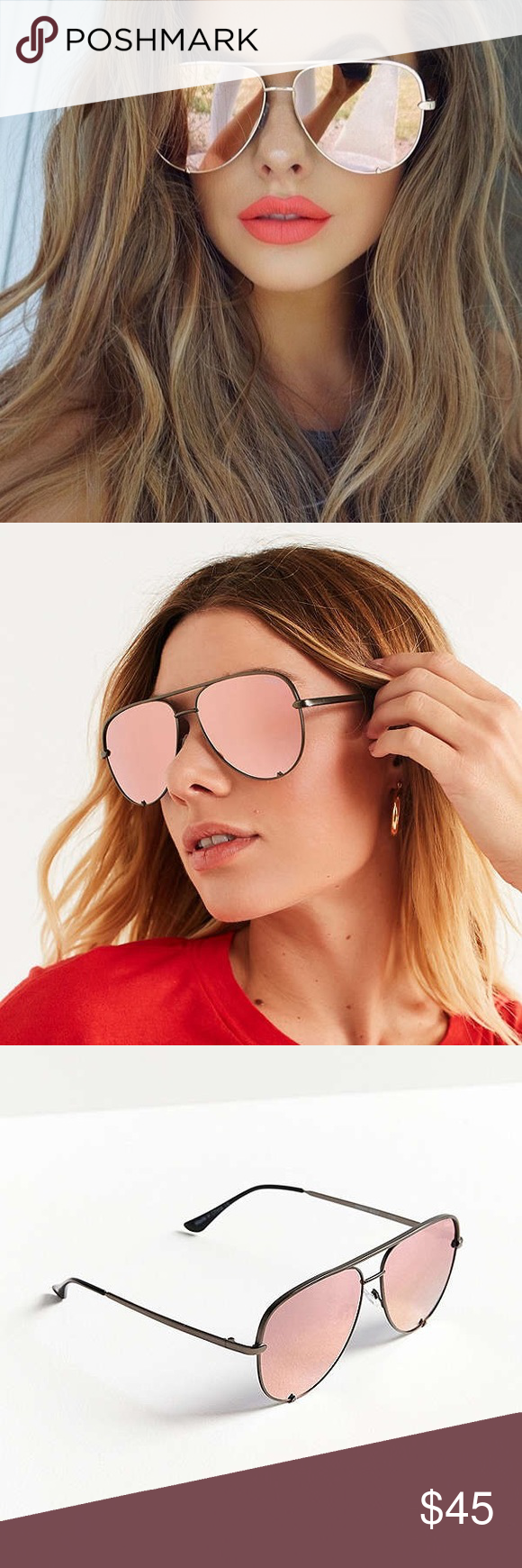 d7bf70df4d Quay x Desi High Key Sunglasses Like new. Rose color Up the glam factor  with these seriously sleek aviator sunglasses from Quay Australia s  collaboration ...
