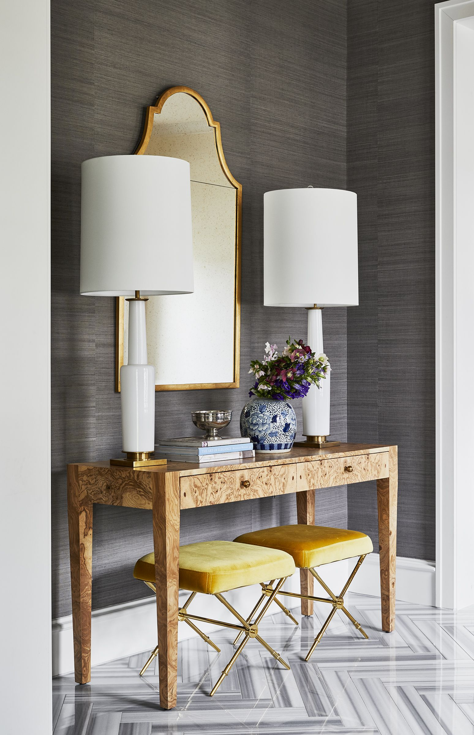 Dark Gray Grasscloth Wallpaper Console Table With Matching L