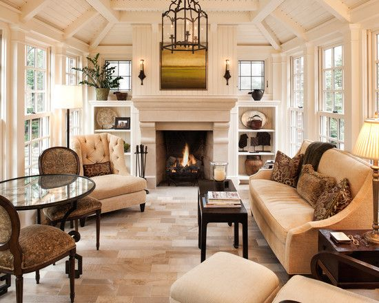 airy yet cozy living room with limestone fireplace flanked by built ins and leaded glass decor ideasdecorating ideassunroom - Sunroom Decor