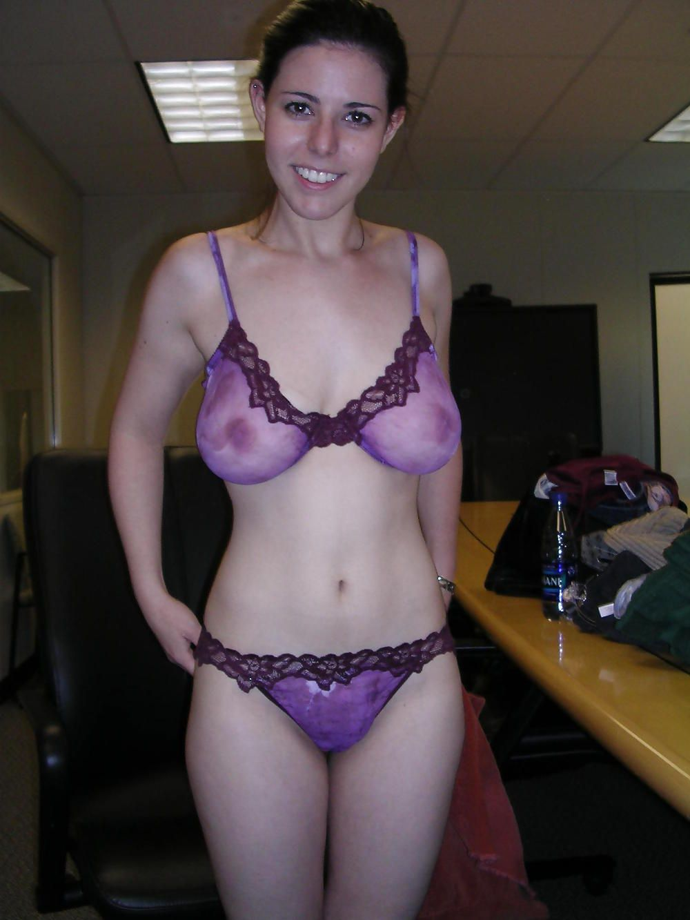 Through amateur bra see