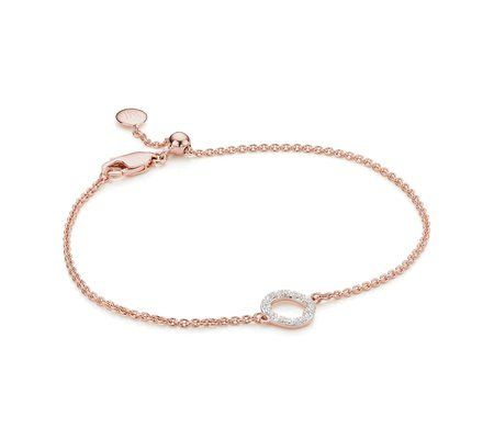 Riva Mini Circle Rose Gold Vermeil Diamond Ring - M Monica Vinader ysFdqZXV