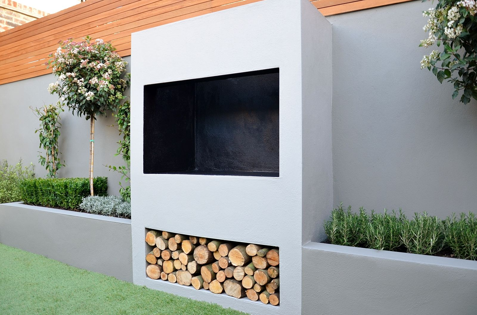 Outdoor Fireplace BBQ Fire Raised Beds Modern Garden Design London