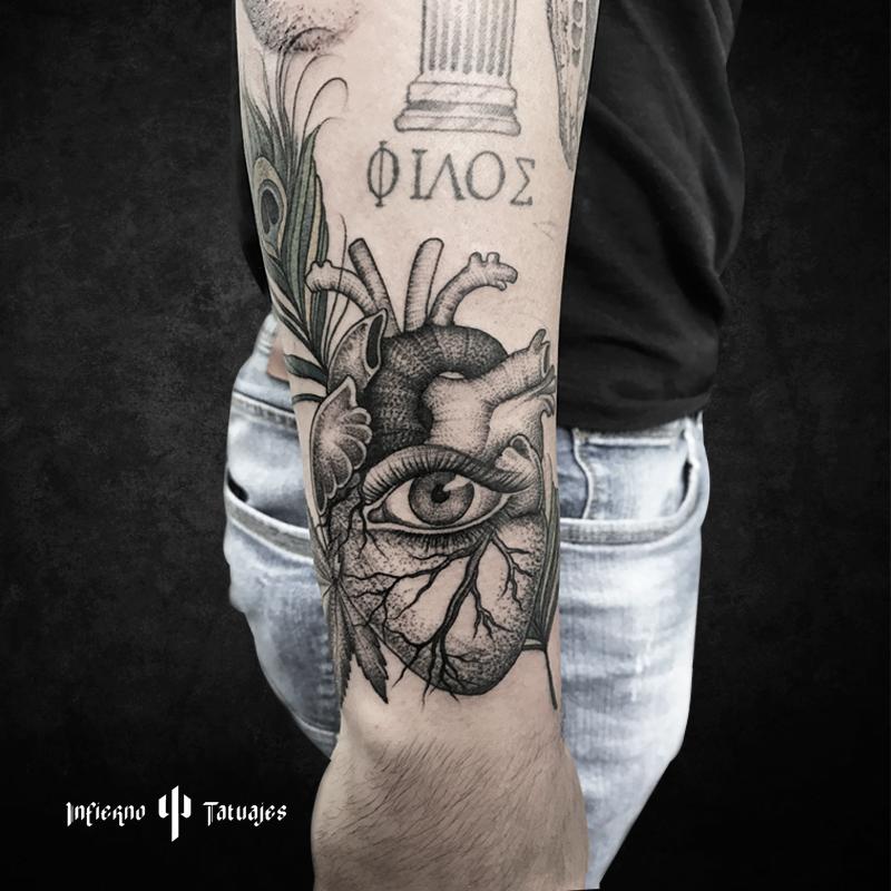 Tatuajes En El Brazo Sombras tatuaje corazón con ojo tattoo en brazo sombras realista #tatuaje