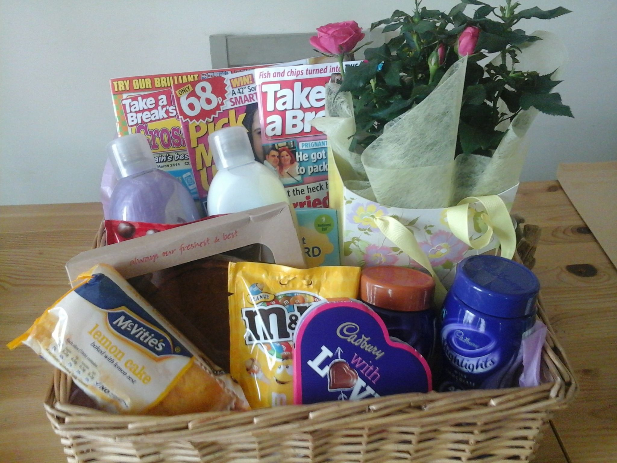 Gift Hamper For Mum Just Out Of Hospital Contains Cake Magazines Rose