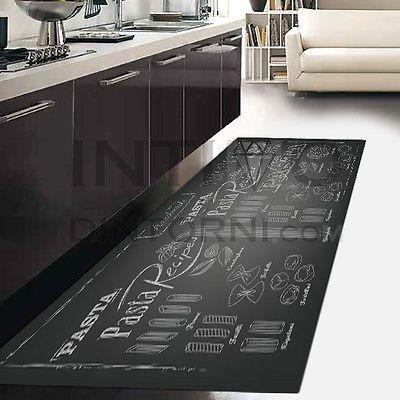 Details about Rug Runner Kitchen-Blackboard Black Pasta ...
