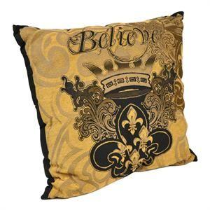 Black and Gold Believe Fleur-de-Lis Pillow