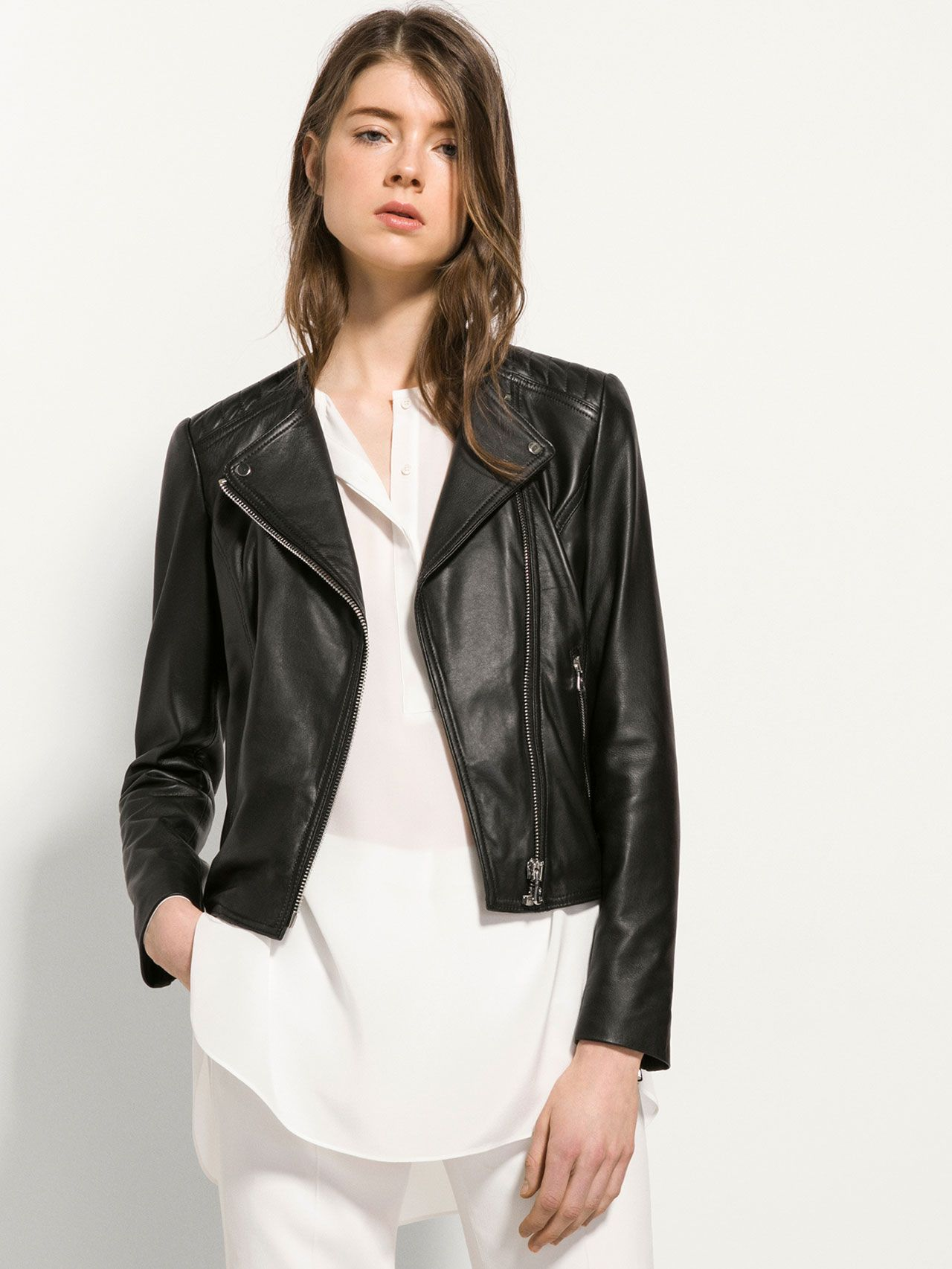 BLACK LEATHER JACKET WITHOUT COLLAR | Fall/Winter Outfits ...