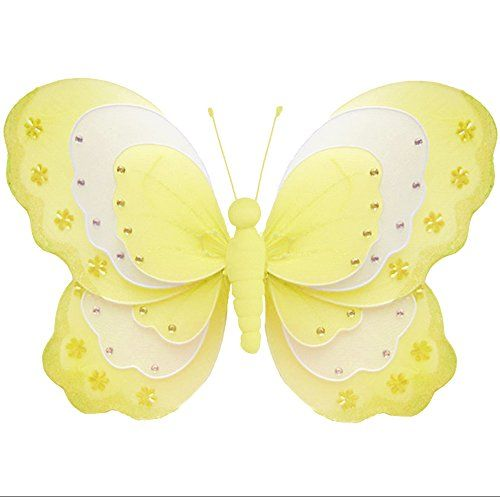 Butterfly Decorations 18 XLarge Yellow White Triple Layered Nylon ...