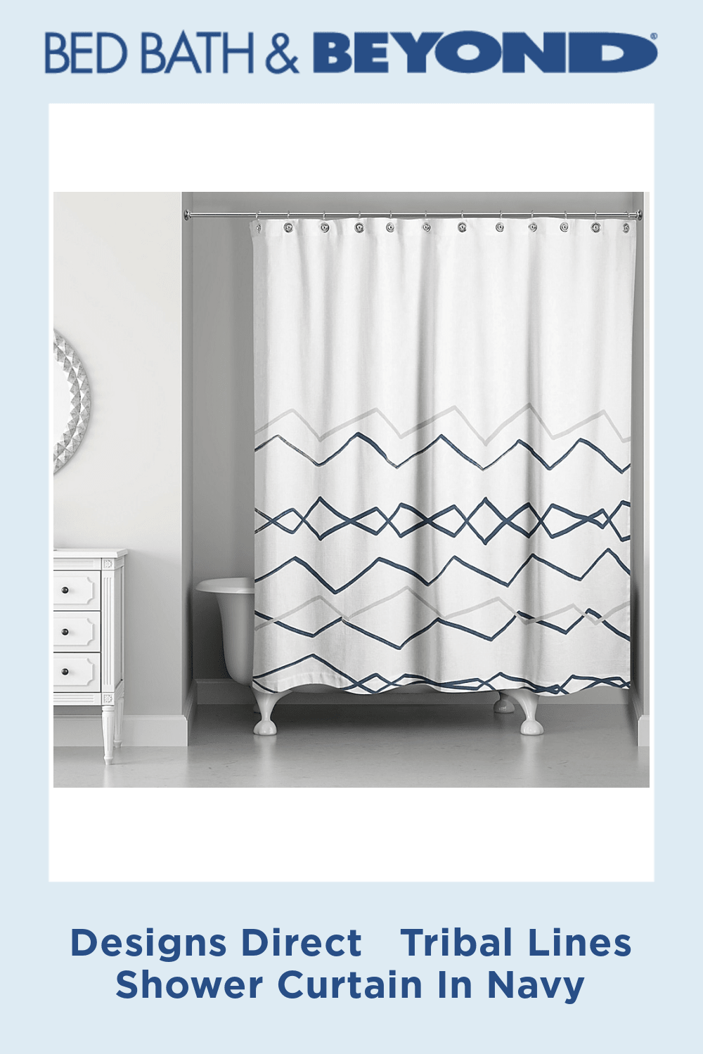 Designs Direct Tribal Lines Shower Curtain In Navy