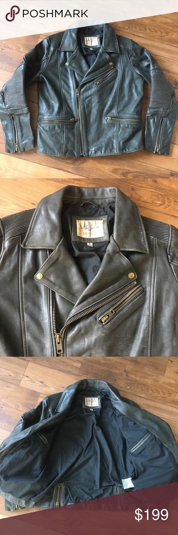 Wilsons Leather Grey Motorcycle Biker Jacket Wilsons Leather Biker Jacket Jackets [ 1740 x 580 Pixel ]