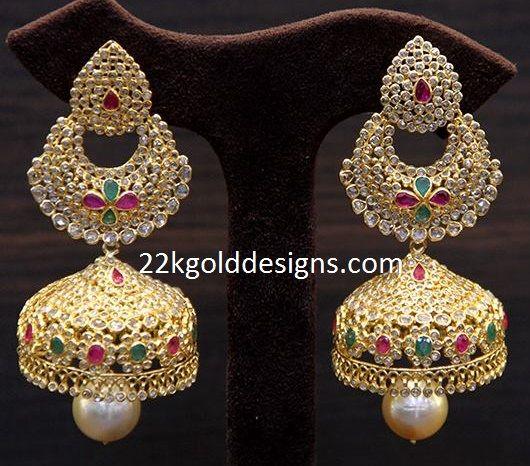 3ef1805a5 Indian Jewellery Designs: TBZ Polki Chandbali Style Jhumkas ...