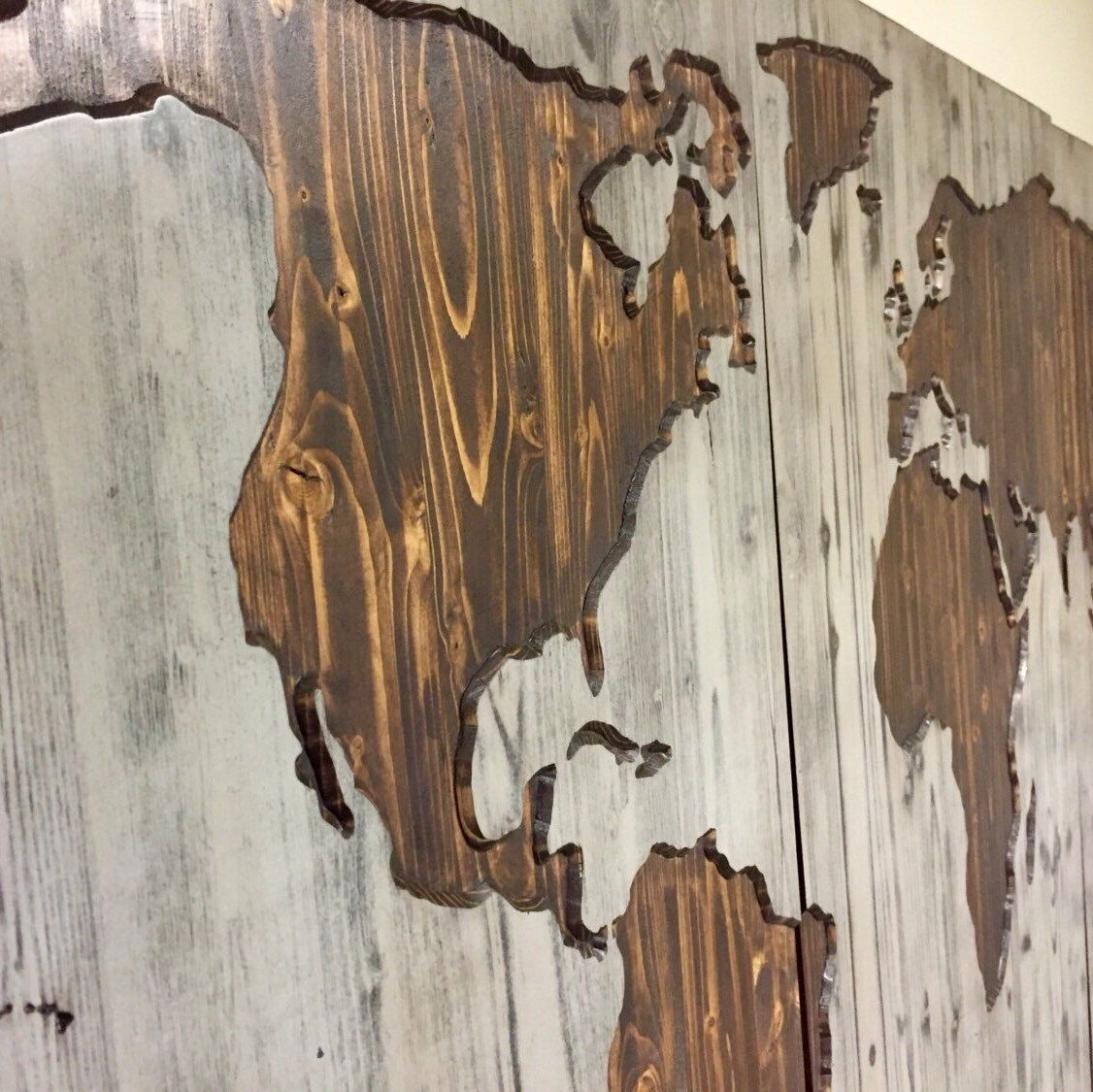 World map wood wall art carved custom home decor wooden map
