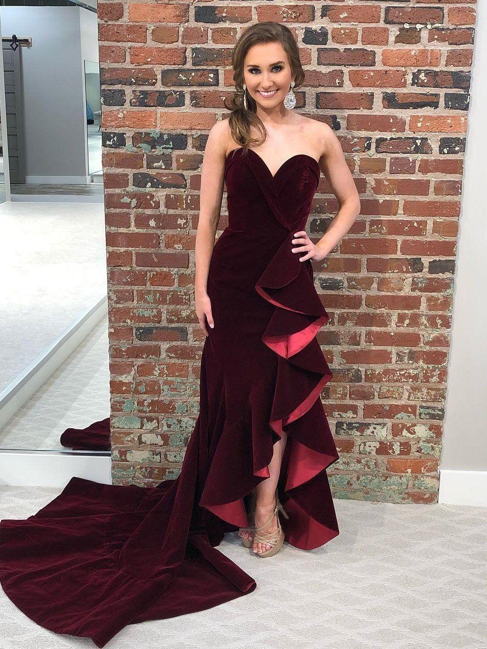 b4b3d23352 Strapless Sweetheart Burgundy Velvet Mermaid Prom Dresses with Slit ...
