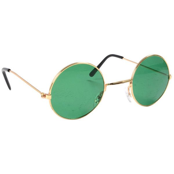 381c64479bd Sixties Beatles John Lennon Style Hippie Round Green Glasses With Gold...  ( 6.13) ❤ liked on Polyvore featuring accessories