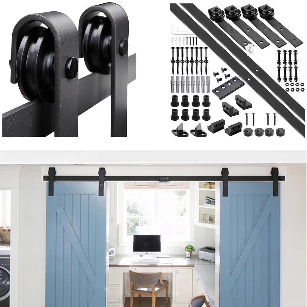 Details About 10ft 12ft Double Sliding Barn Wood Door Hardware Roller Track Carbon Steel Kit Wood Doors Barn Hardware Door Hardware
