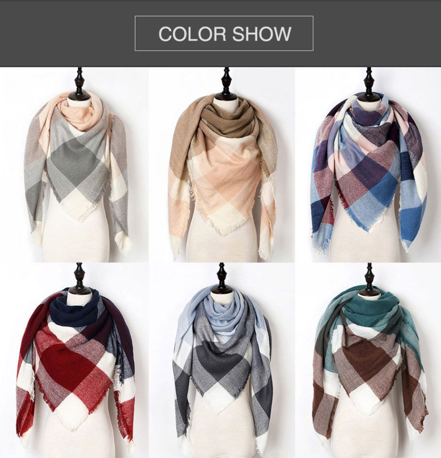4f5d77d2c Luxury Brand Triangle Warm Plaid Ladies Scarf in 2019 | SilkWoodShop ...