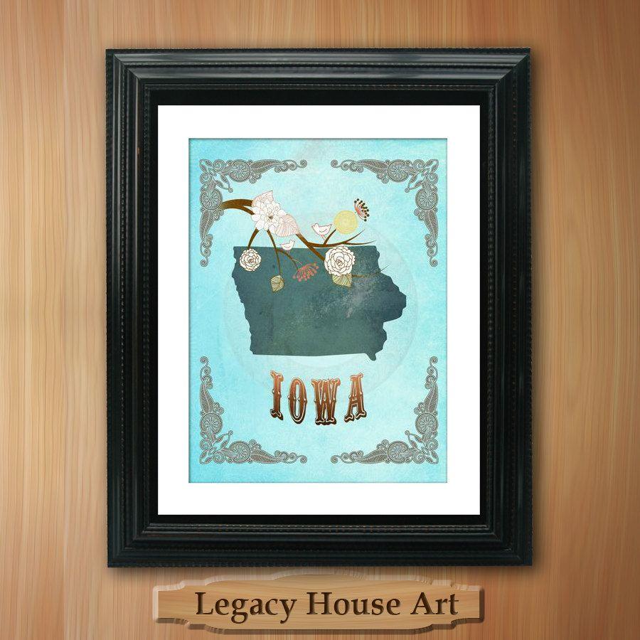 Iowa state map art 85x11 ornate birds love map by