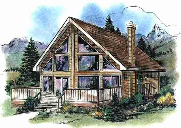 Contemporary Style House Plan 58540 With 2 Bed 1 Bath Lake House Plans Cottage House Plans Contemporary House Plans