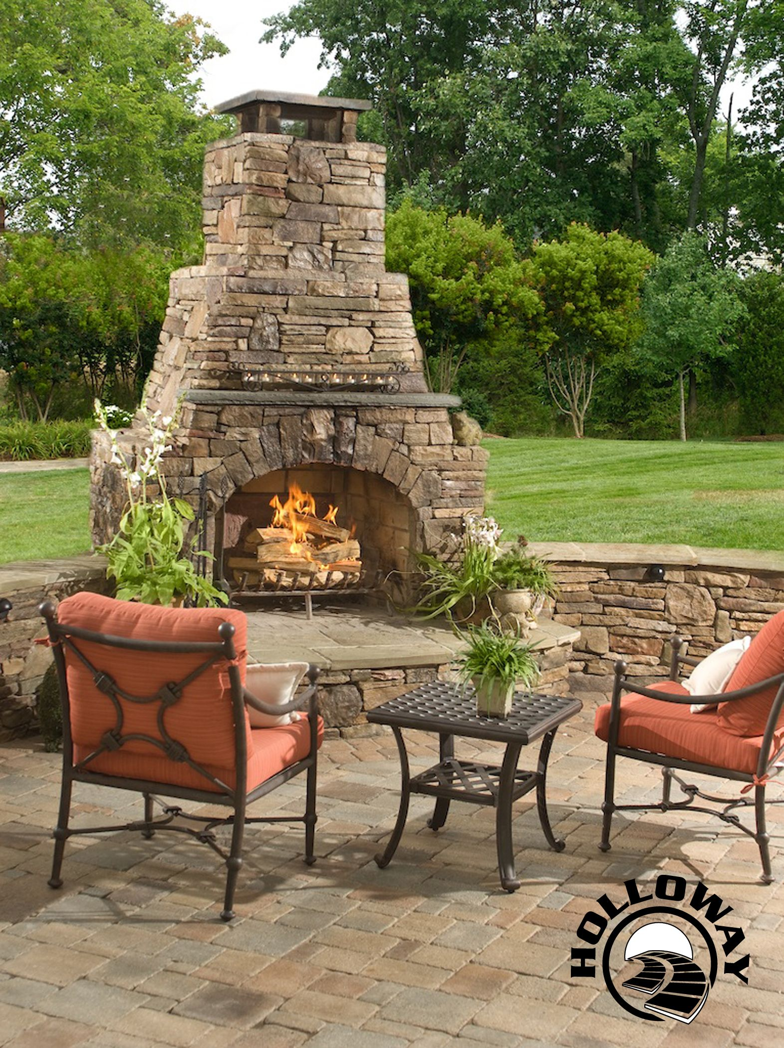 "Outdoor Fireplace:  72"" custom masonry outdoor fireplace with chimney extension. Fireplace features seating walls *************************************************~Designed & Built by Holloway Company Inc"