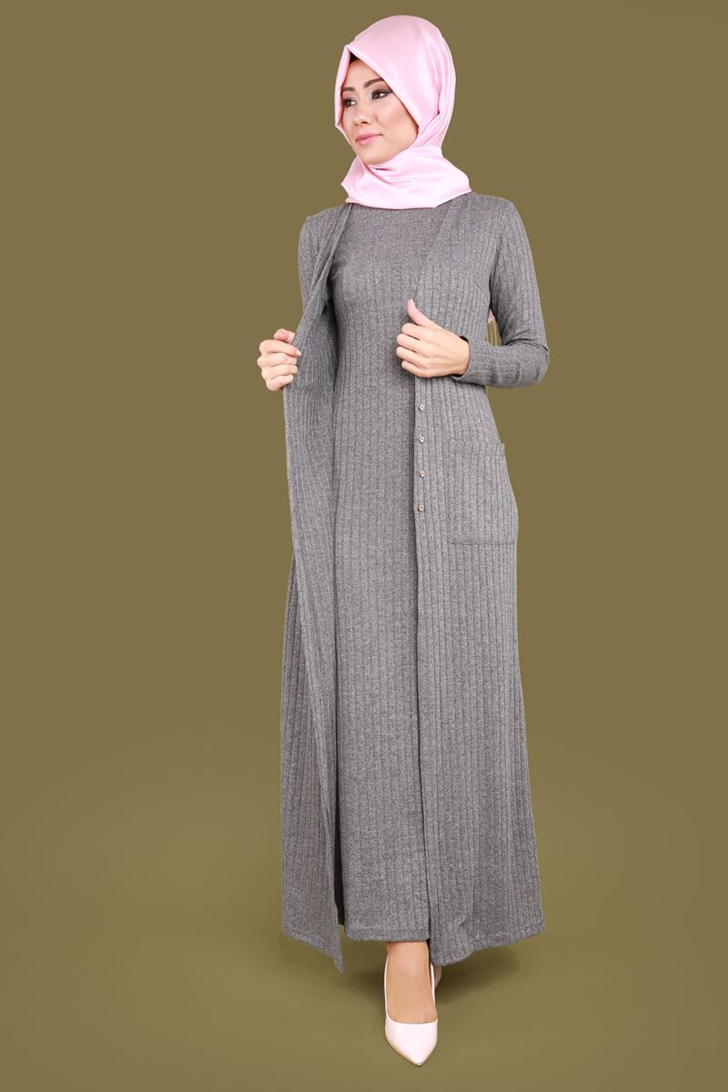 Kendinden Yelekli Tesettur Elbise Gri Urun Kodu Knz3118 109 90 Tl Elbise Abaya Tarzi Kadin Giyim