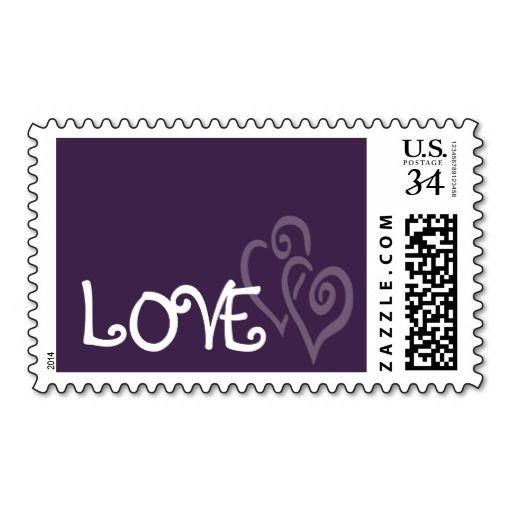 Dark Purple Love Hearts for Wedding Postage Stamp