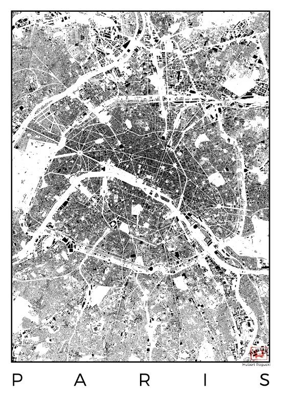 Paris Map Schwarzplan Only Buildings Art Print Modern: Paris City Map Poster At Infoasik.co
