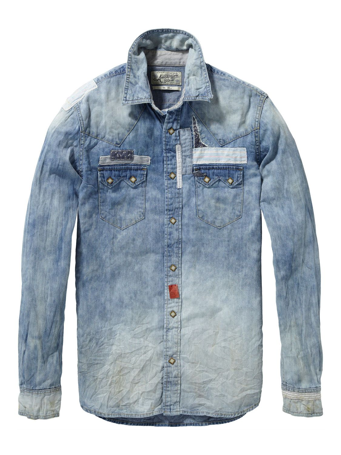 scotch and soda patched en repaired sawtooth denim shirt