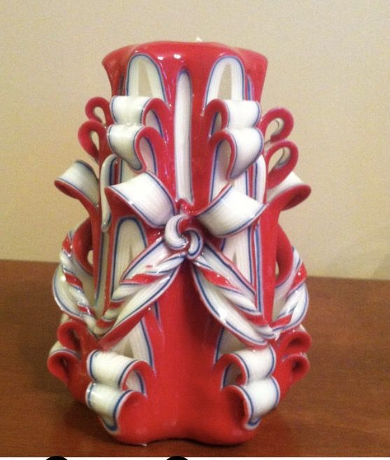 Carved red white and blue candle#patriotic candle