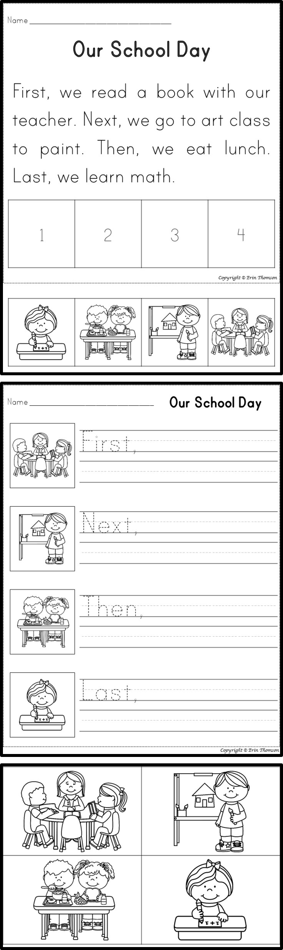 medium resolution of Sequencing Story: Our school day ~ First