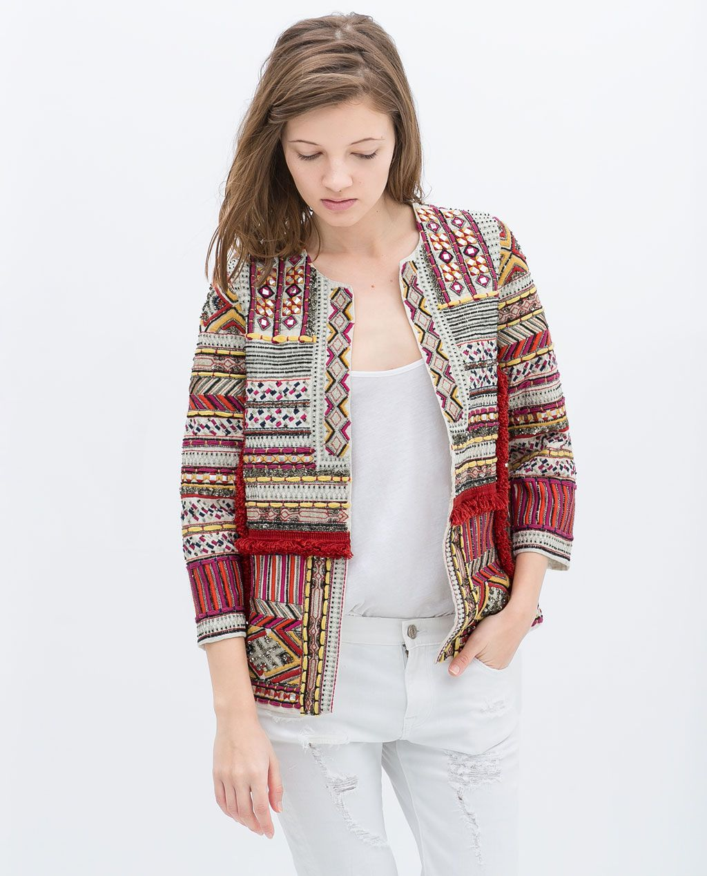 657a27b7 EMBROIDERED JACKET WITH BEADS from Zara | wanted in 2019 | Zara ...