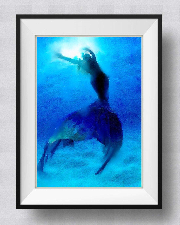 Mermaidart printpaintingwatercolorhome decorwall art pic no