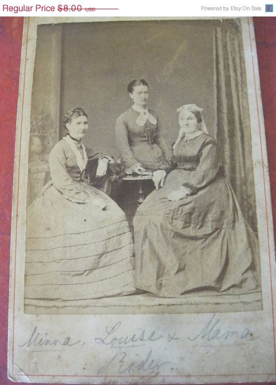 SALE 15% OFF Vintage Photograph Cabinet Card Of Three Ladies ...