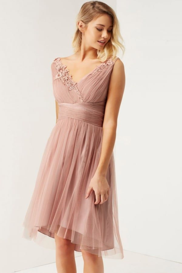 Mesh Skirt Prom Dress With Bead Detail Top - Blush Little Mistress ULiUI113