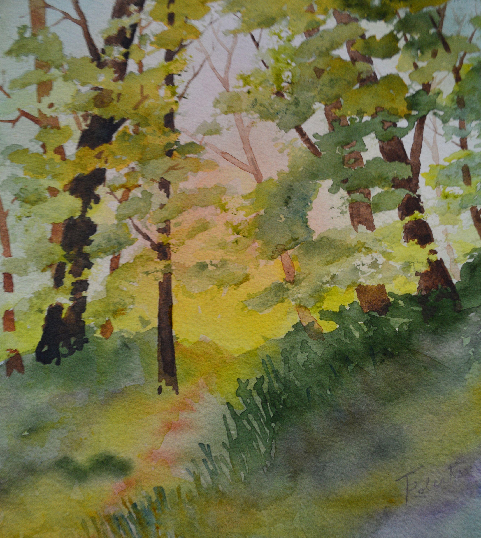 Summer Trees Original Fine Art Watercolor Original Tree Painting Tree Art Landscape Watercolor Landscape Painting Fine Art Painting In 2020 With Images Landscape Paintings Fine Art Landscape Original Fine Art
