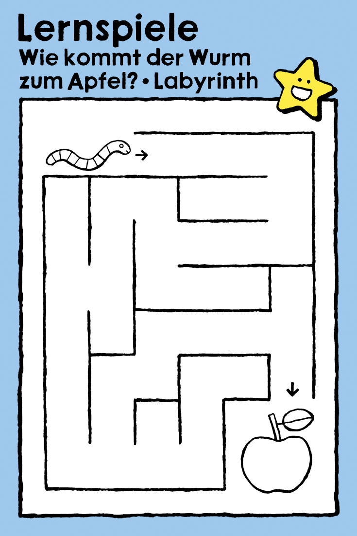 Wie Kommt Der Wurm Zum Apfel Labyrinth Ausmalbilder Malvorlagen Kinder Lernspiele Herbst Obst Bring The Worm To The Apple Lernspiele Labyrinth Lernen