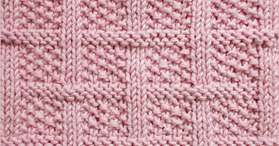 Knitted in a multiple of 14 sts, + 2 and purl one row  Row 1 - right side: Knit.  Rows 2, 4, and 6: P2, * (k1, p1) 3 times, p1; repeat fr...