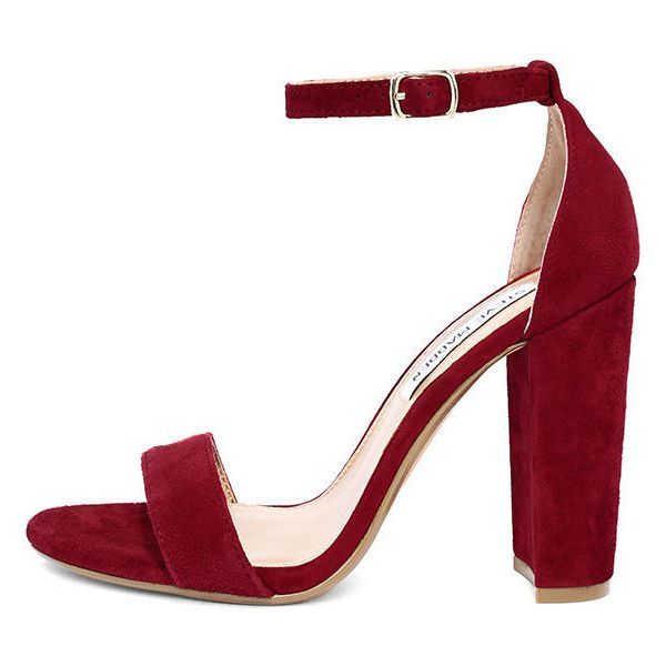 Steve Madden Carrson Dk Red Suede Leather Ankle Strap Heels featuring  polyvore, women's fashion,