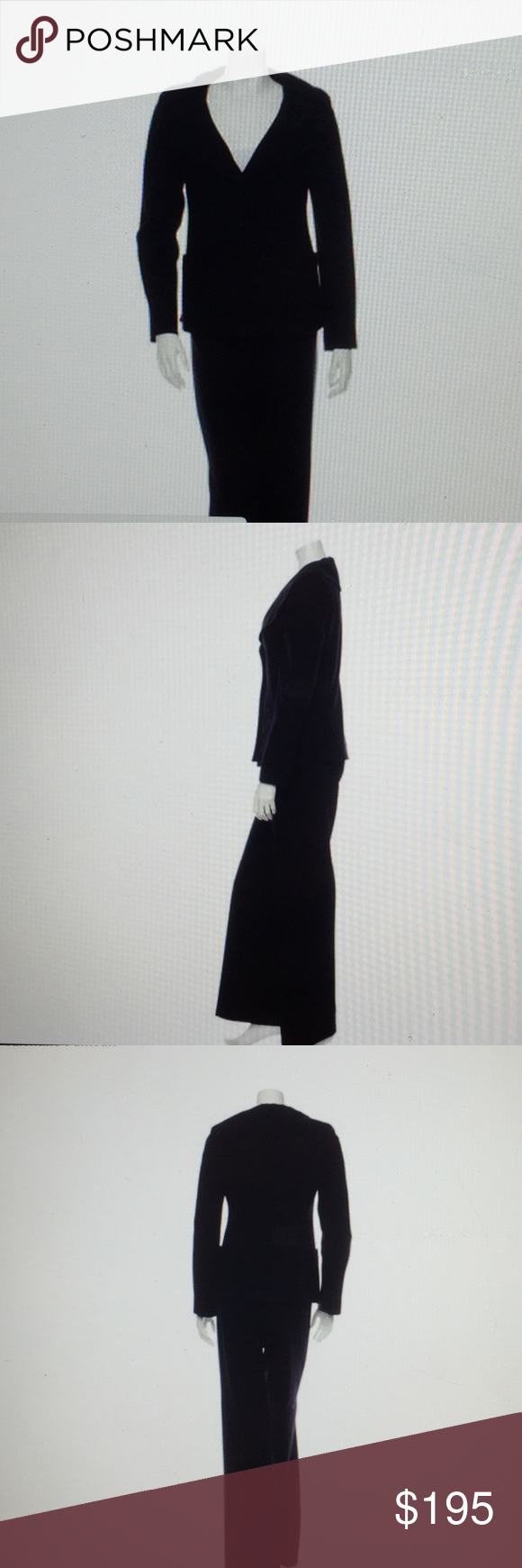 Valentino pantsuit Black pantsuit; jacket has two front pockets and front button closure; wide leg pants has side concealed zip closure Valentino Other