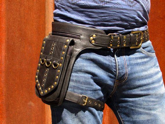 0c0f21465 Leather Leg Holster Utility Belt Thigh Bag Steampunk Unisex Festival Hip Belt  Bag with Pockets Biker Bag in Black HB31d  Free Shipping