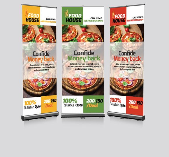Restaurant Roll Up Banners Template