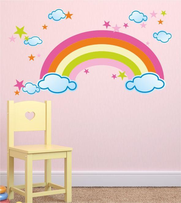 Wandaufkleber Wandmotiv Regenbogen Wolken Sterne Himmel