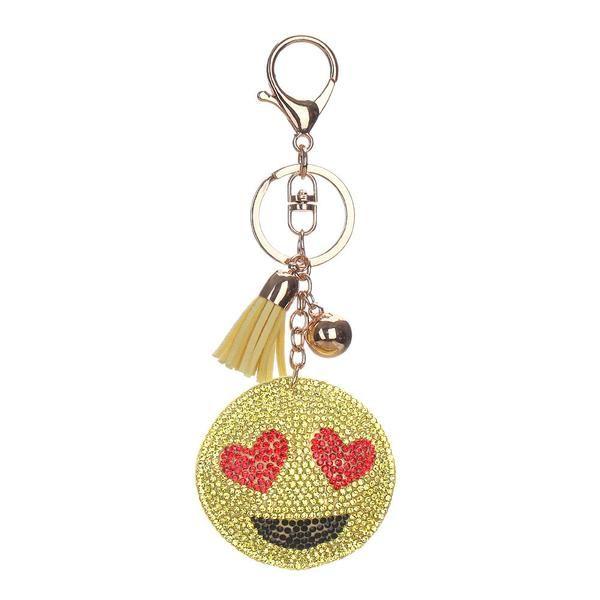 Bling mosaic emoji leather keychain 6styles