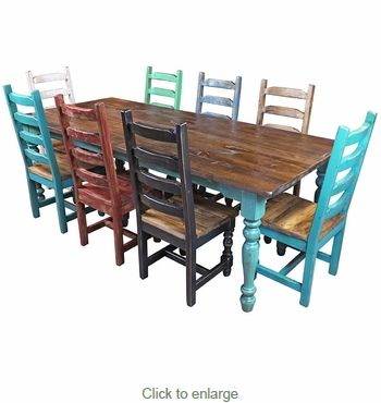 Multi Color Mexican Colonial Painted Wood Dining Set 9 Piece