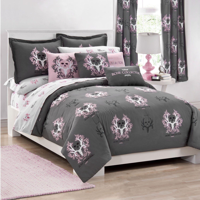 Bone collector comfortersham set queen greypink animals